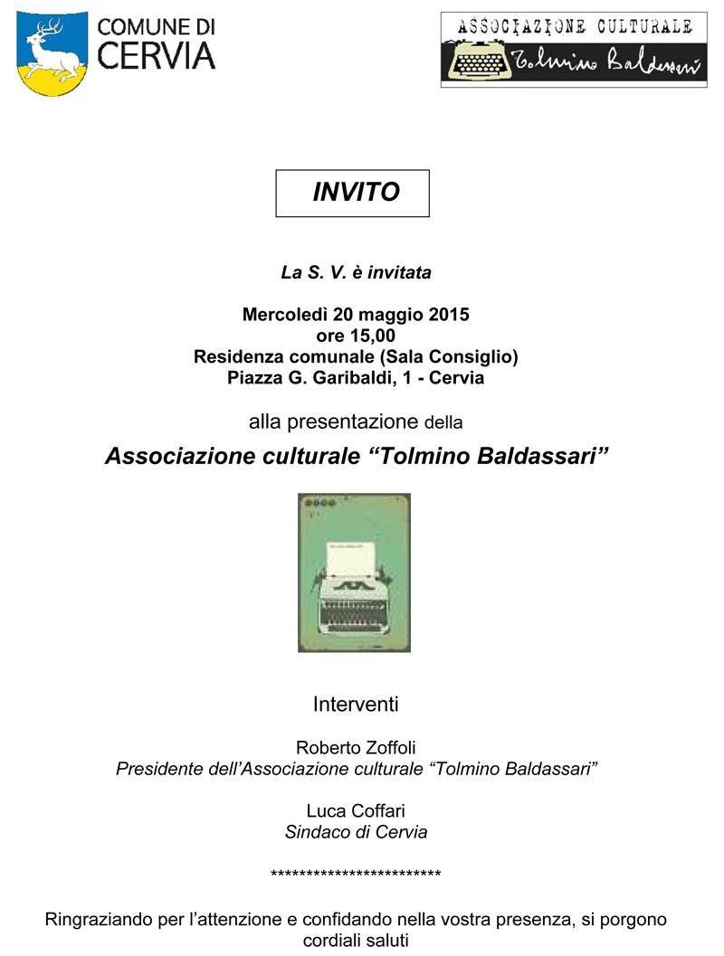 Invito Presentazione Associazione Tolmino Baldassari